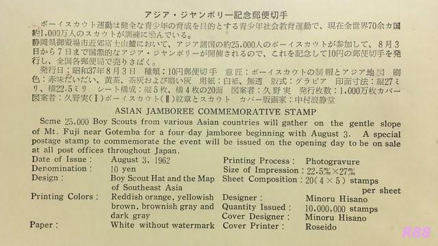 昭和37年8月3日発行のアジアジャンボリー記念の中村浪静堂の初日カバー付属の解説書