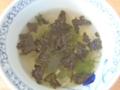 椎茸のじく、小ネギ、焼きのり、唐辛子を一振り