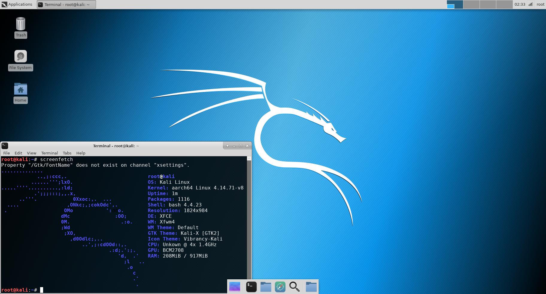 Kali Linux RaspberryPi 3 64bit