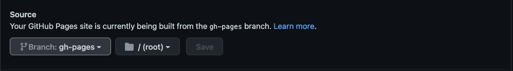 Sourceでブランチをgh-pagesのrootディレクトリを設定している
