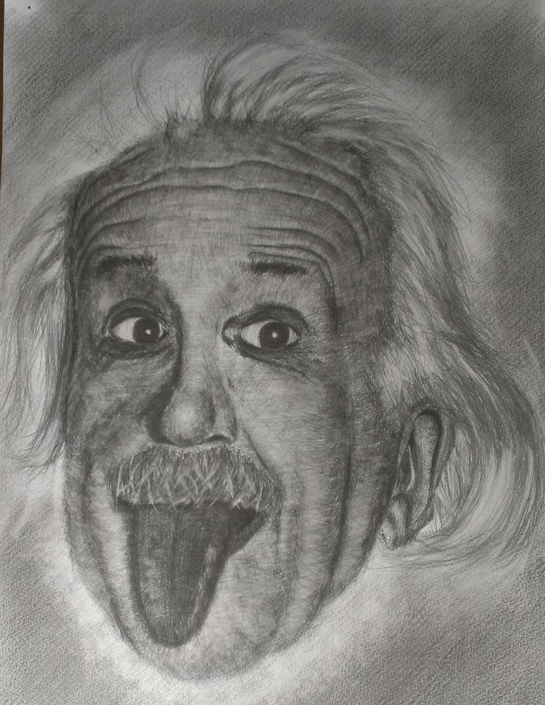 アインシュタイン鉛筆デッサン
