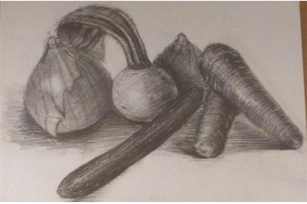 鉛筆デッサン実家の野菜盛り