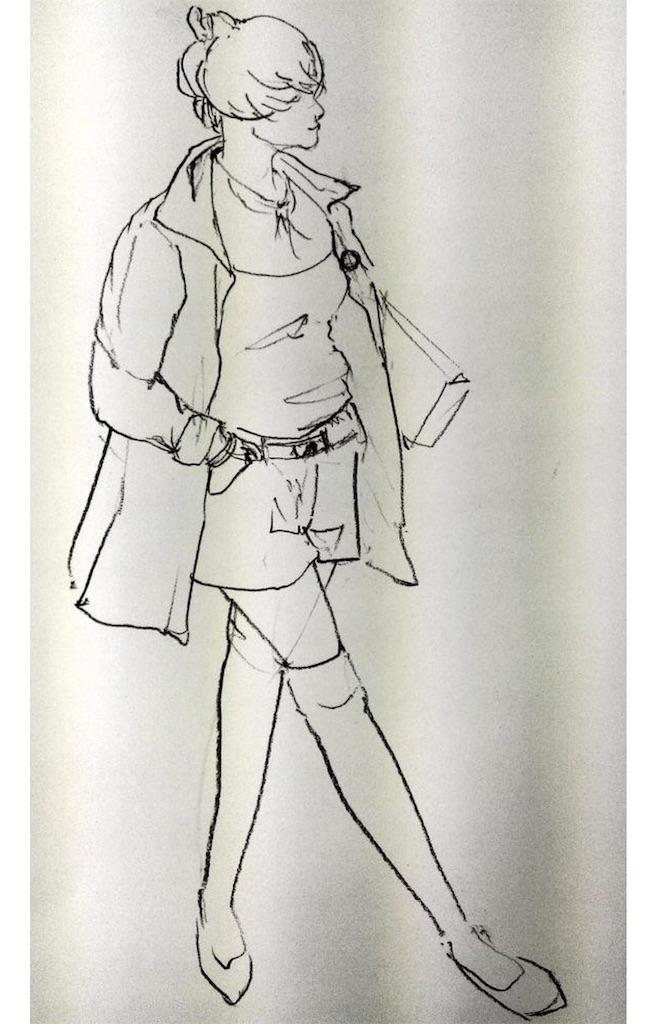 四谷デッサンファッションクロッキー女性ロングコート