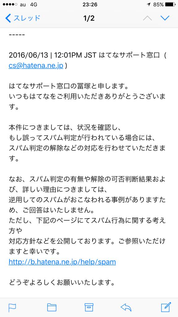 はてなサポート窓口 スパム判定確認問い合わせメール冨塚