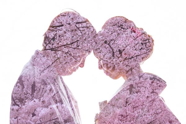 桜でロケーションフォト