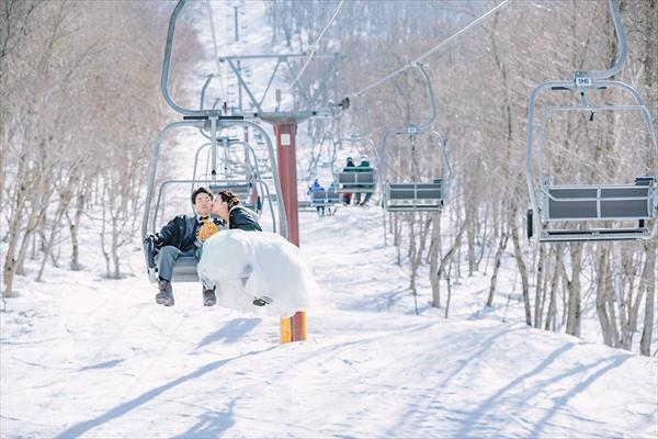 スキー場で前撮り