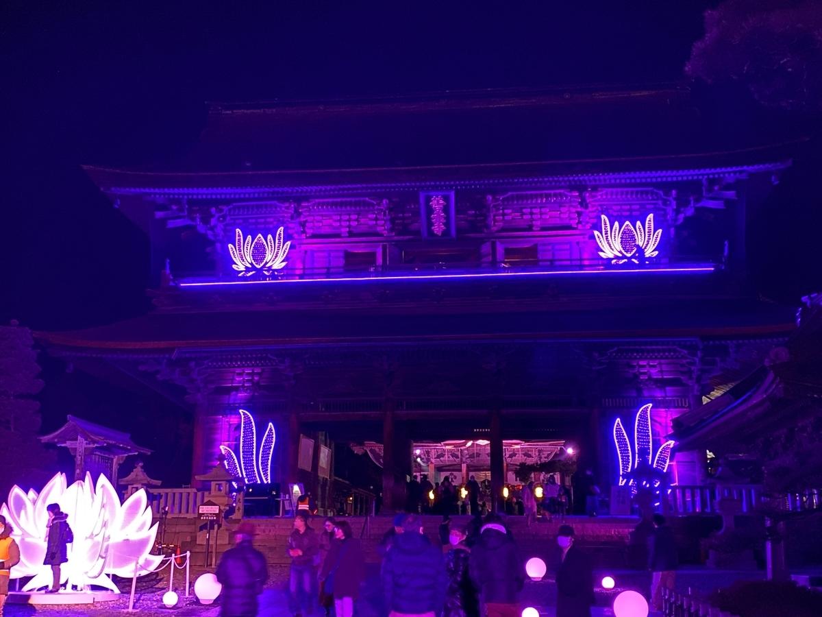 善光寺山門のイルミネーションの画像