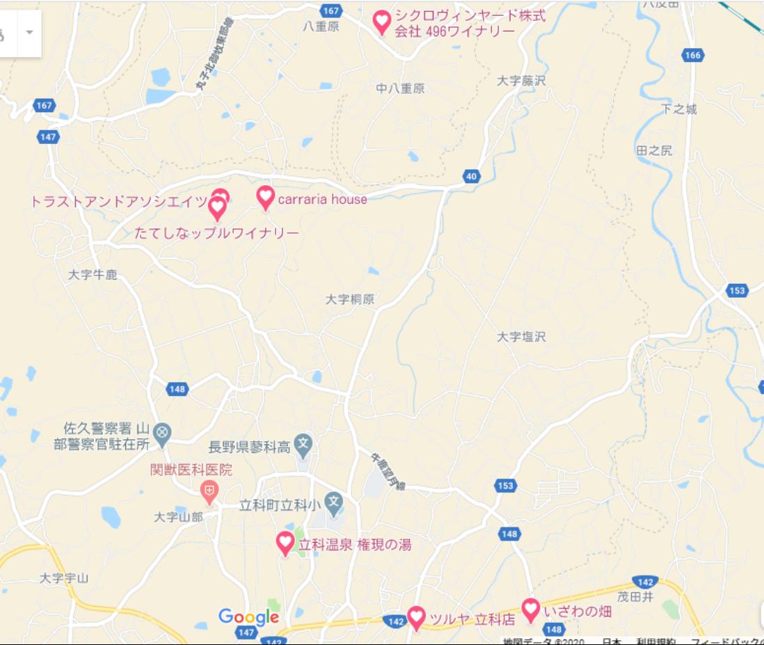 千曲川ワインバレー左岸の地図