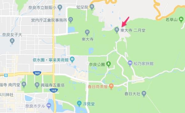 二月堂までの地図