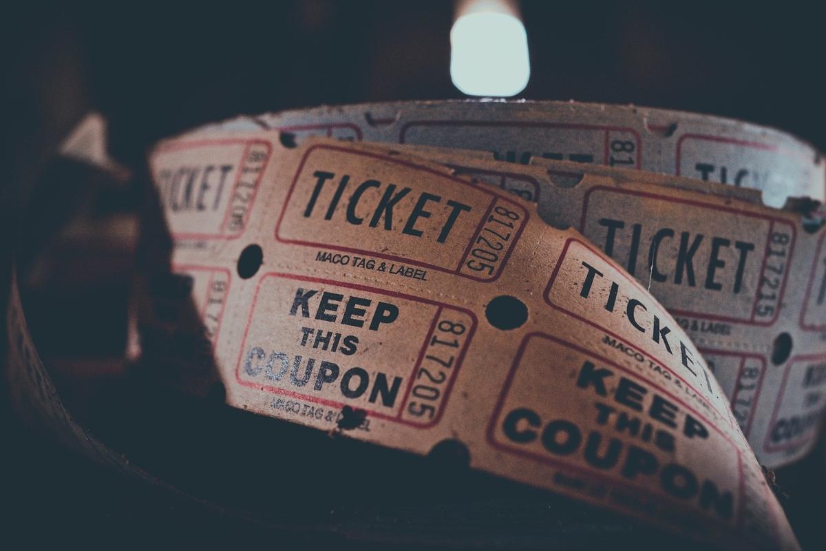 繋がったチケットの写真