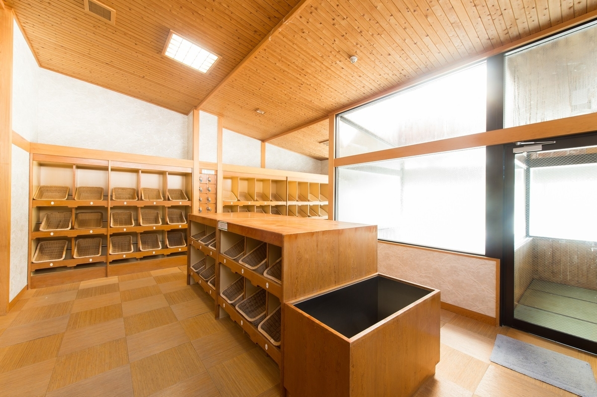 床暖房と敷畳で足元があたたかい岡田旅館の温泉の脱衣婆