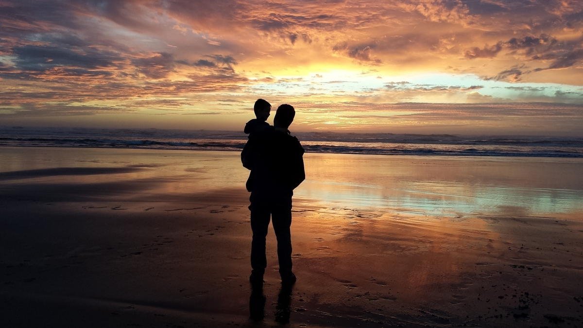 父 息子 孫 男 子 日没 ビーチ 水 ビーチの夕日 海 休暇 空 夏 太陽 自然