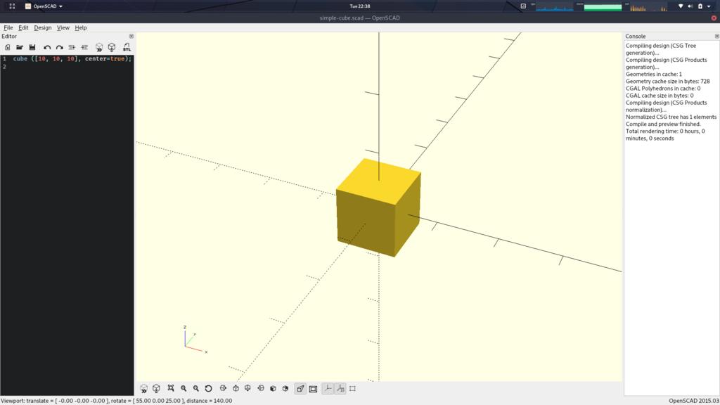 小さな立方体をOpenSCADで表示したスクショ