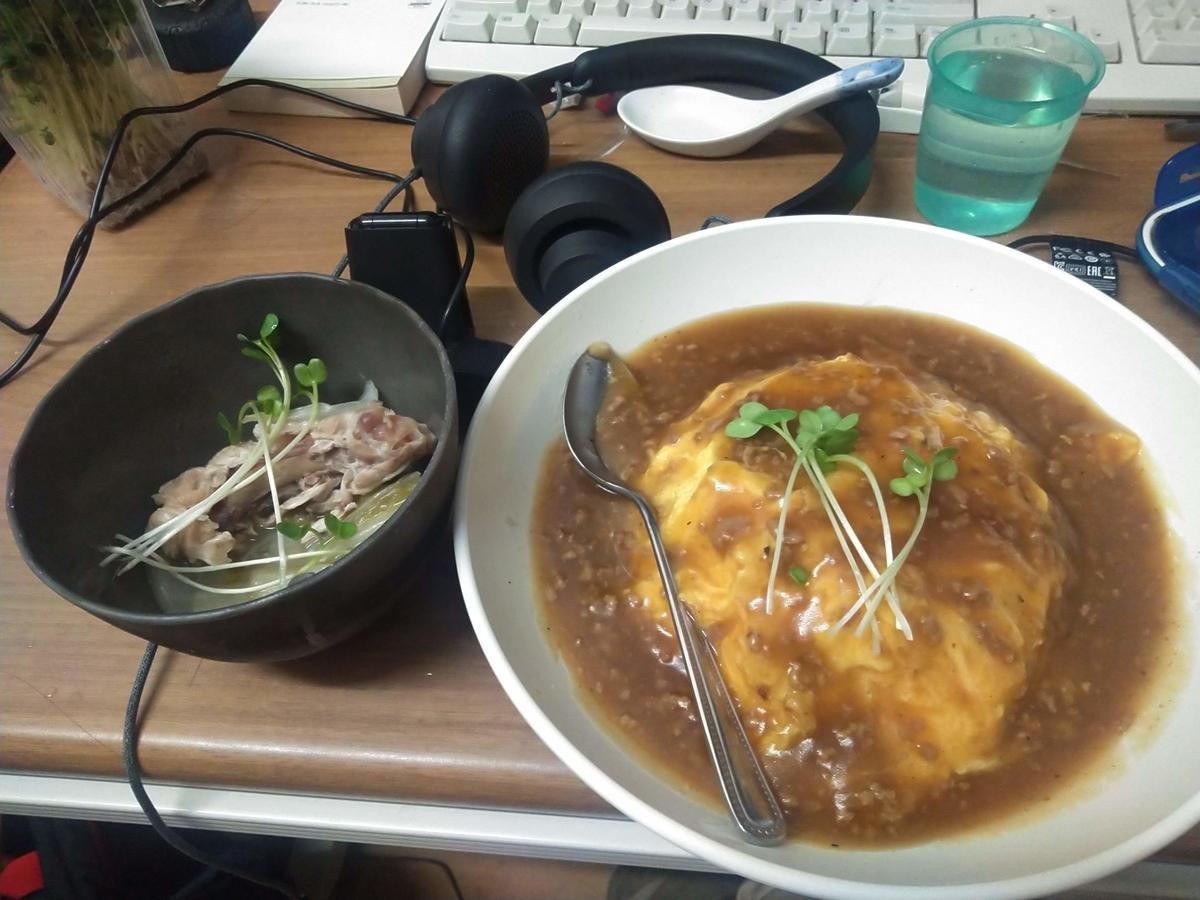 天津飯、鶏肉と白菜の中華煮