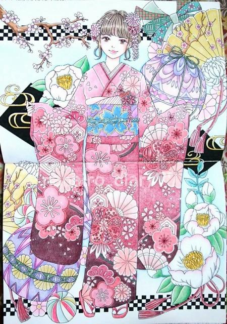 大人の塗り絵ビューティフルドレス 世界の美しい服24着絵横尾