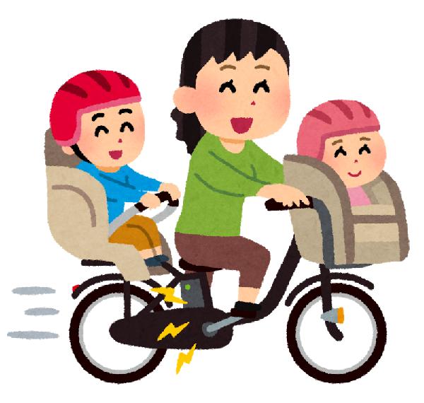 電動自転車 子供と親 イラスト