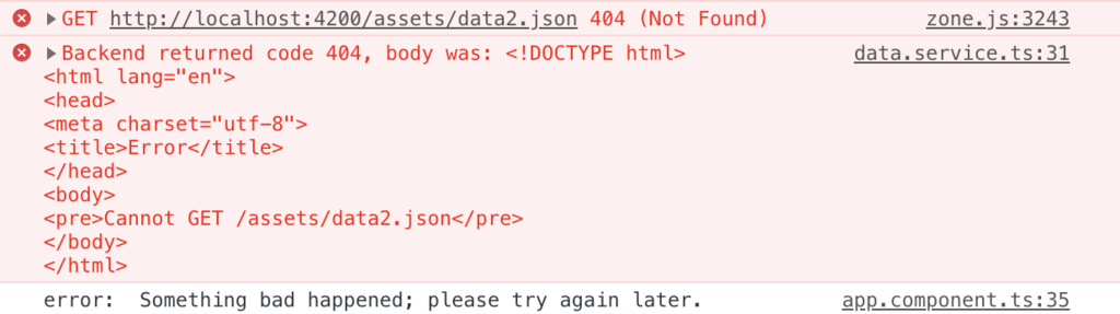 Angular error message