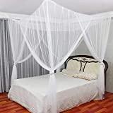 Mecoyas 蚊帳 アップグレード美しいデザイン 四つ入口 昆虫を防ぐ 大人用赤ちゃん用 敷物ライフ 蚊帳 かや 6畳 吊り下げ用 ダブル 190*210*240cm (ホワイト)