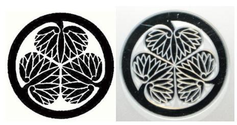 商標登録されたマークと徳川ミュージアムに設置された看板の家紋の比較