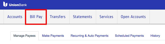 Union BankのBill Pay使い方1