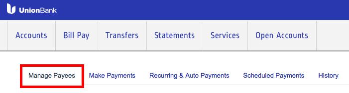 Union BankのBill Pay使い方2