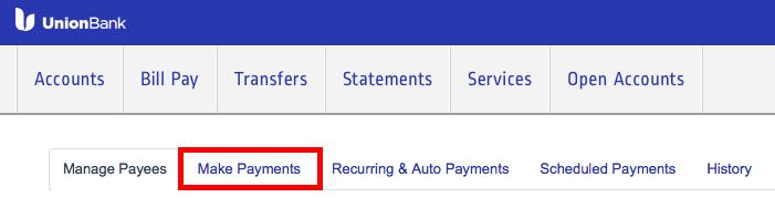 Union BankのBill Pay使い方3