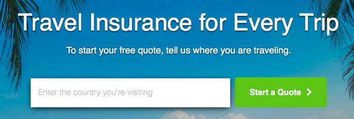 Insure My Tripのトップページの画像