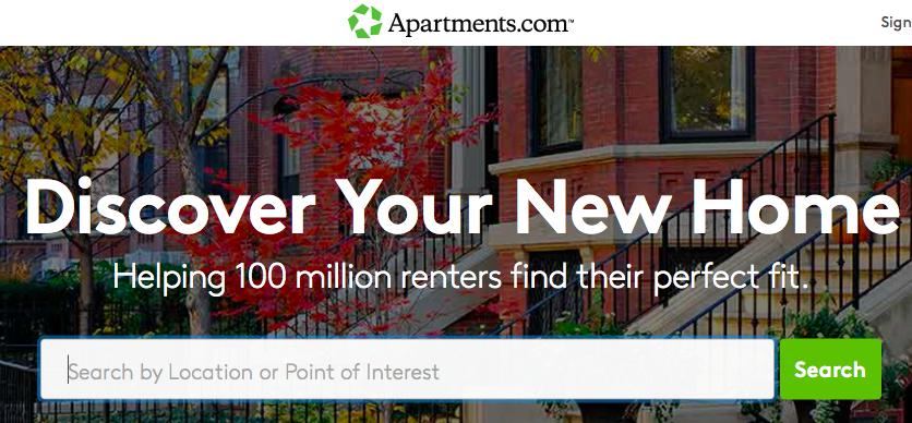 Apartments.comのトップページ