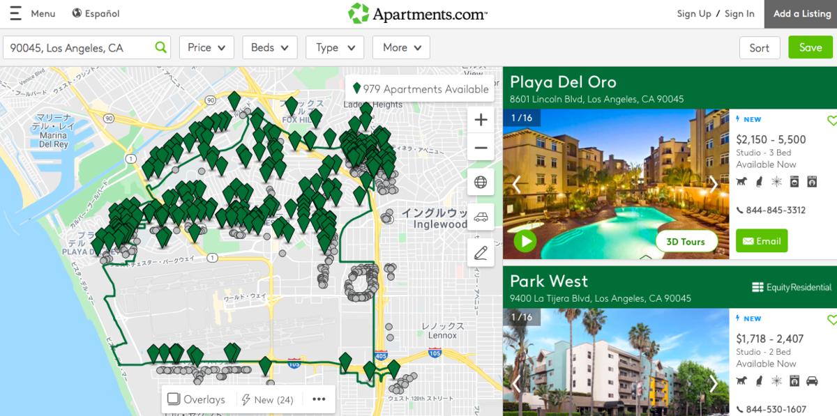 Apartments.comの検索ページ
