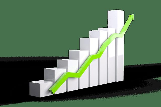 階段と上昇する折れ線グラフ