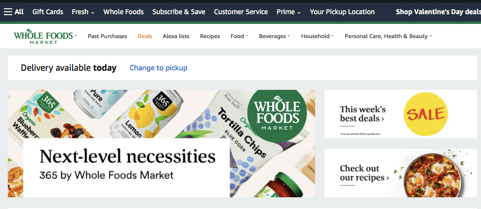 Whole Foodsのトップページ