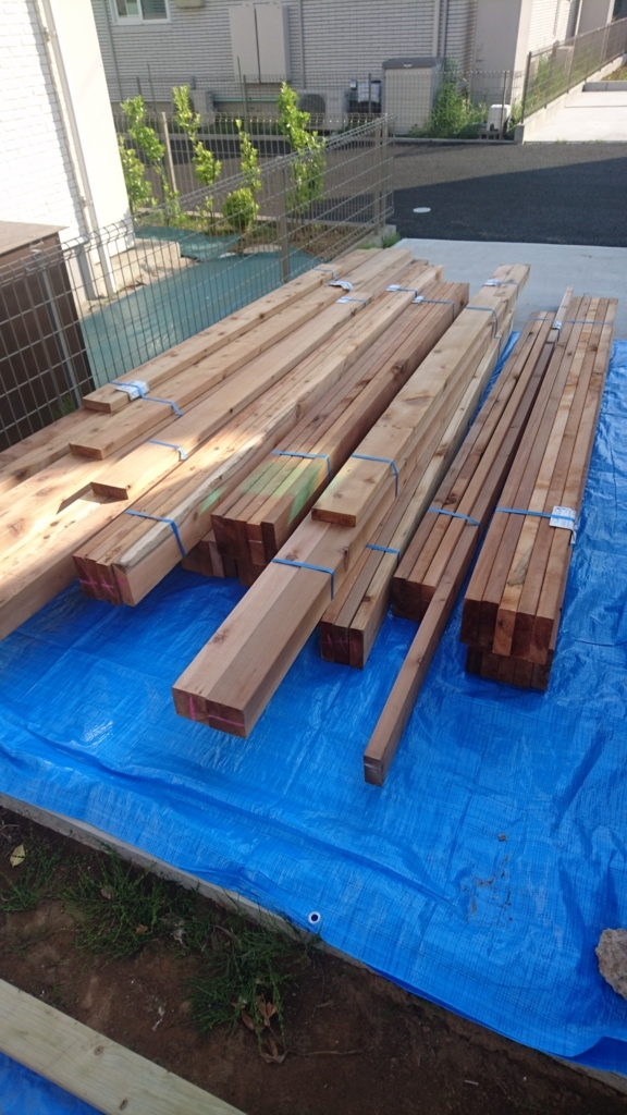 ウッドデッキDIY 木材到着