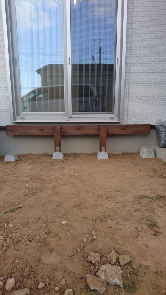 DIYウッドデッキ 基礎束石