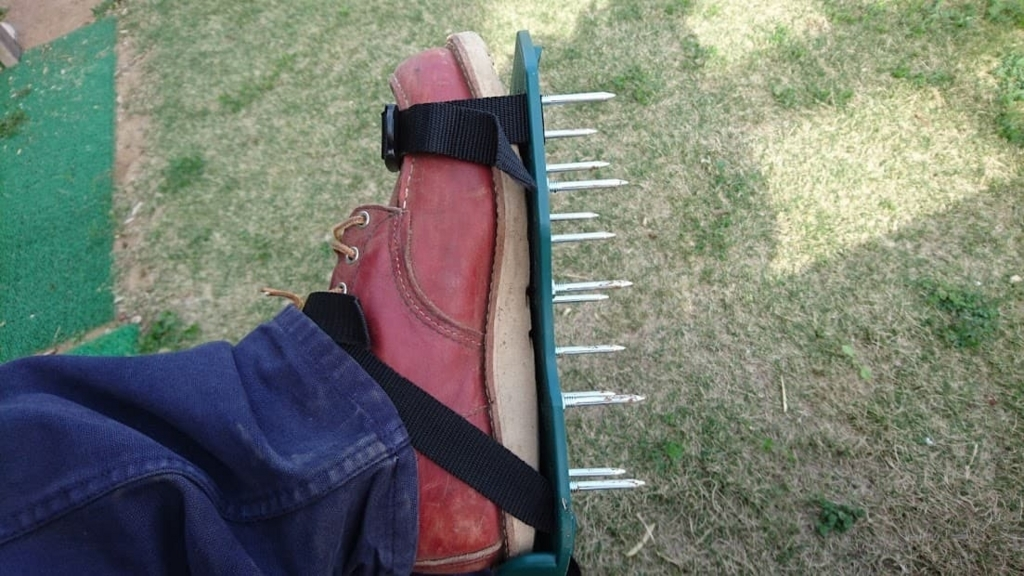 芝生のエアレーション 足
