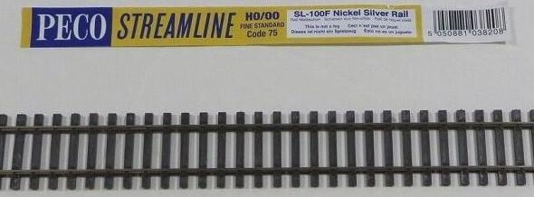 PECO SL-100F OO/HOゲージ(16.5mm) ファイン フレキシブルレール(木枕木)