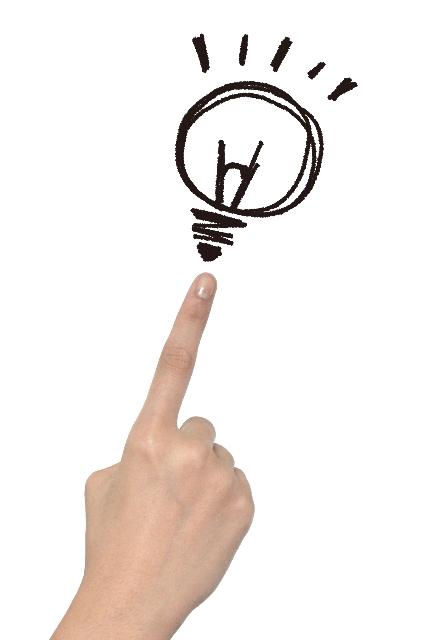 人差し指と電球