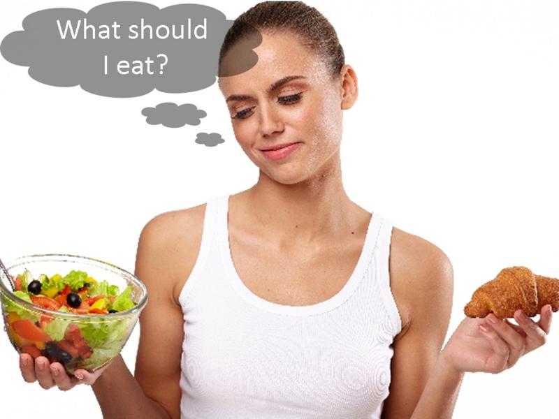 何を食べるか迷っている女性