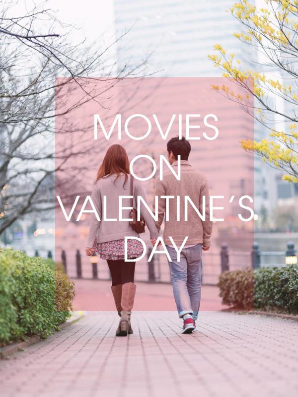カップルがバレンタインに映画を観に行く様子