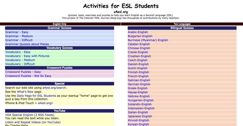 Activities for ESL Students