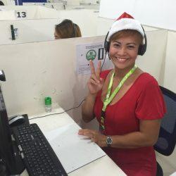 クリスマスコスプレを着た講師