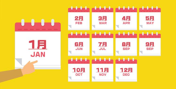 英語、月、各月英語、カレンダー