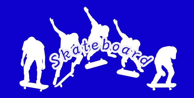 スケートボードイラスト、英語学習、ネイティブキャンプ