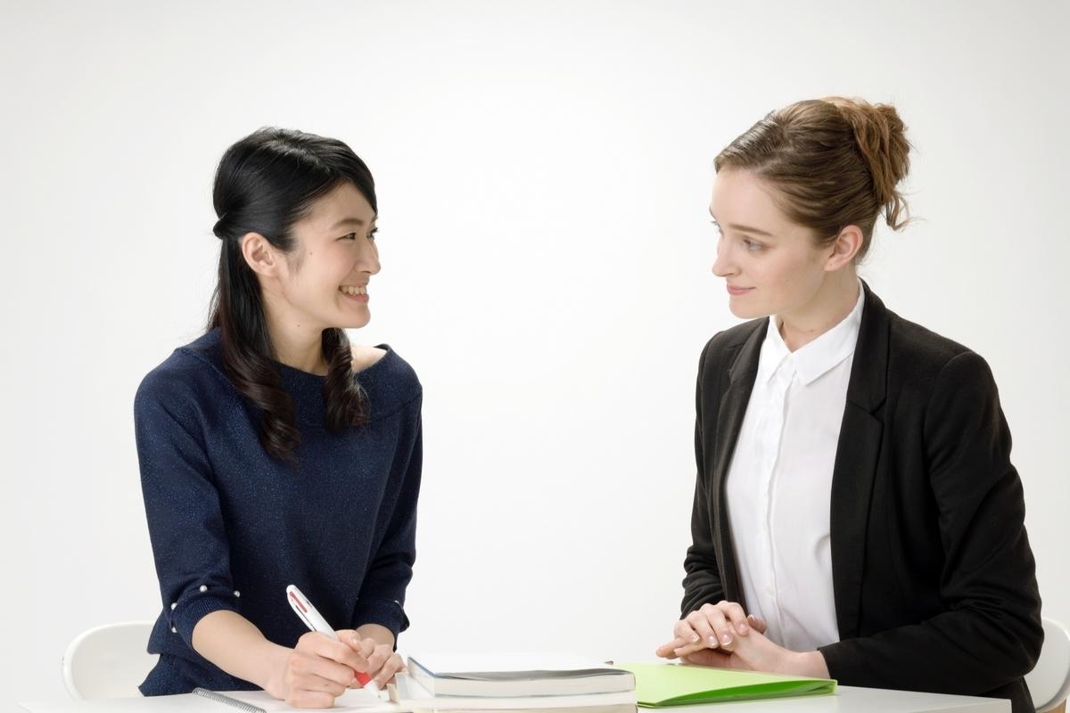 英語を話す女性、マンツーマンで学習する、ネイティブスピーカー
