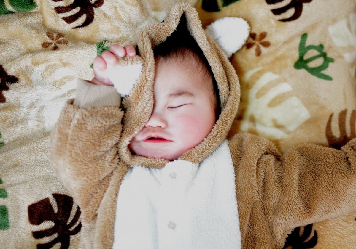 あくび、赤ちゃん、眠い、画像