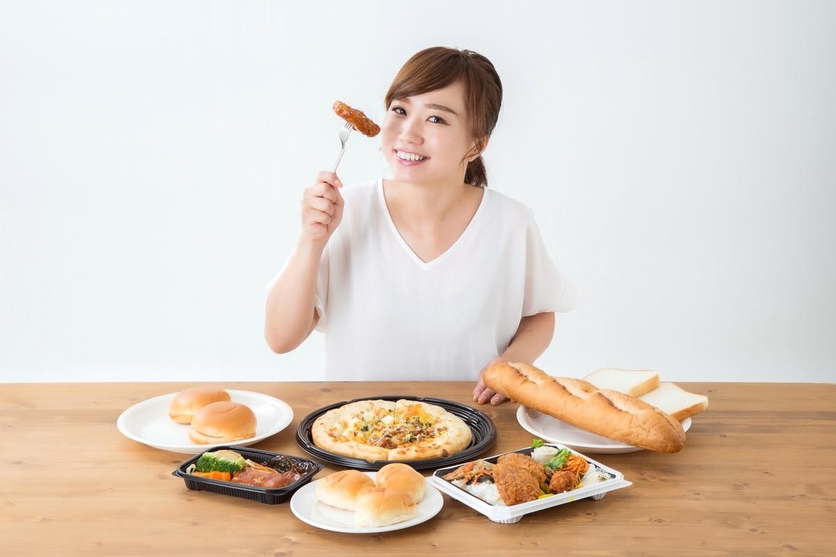 食べ放題、女性、ビュッフェ