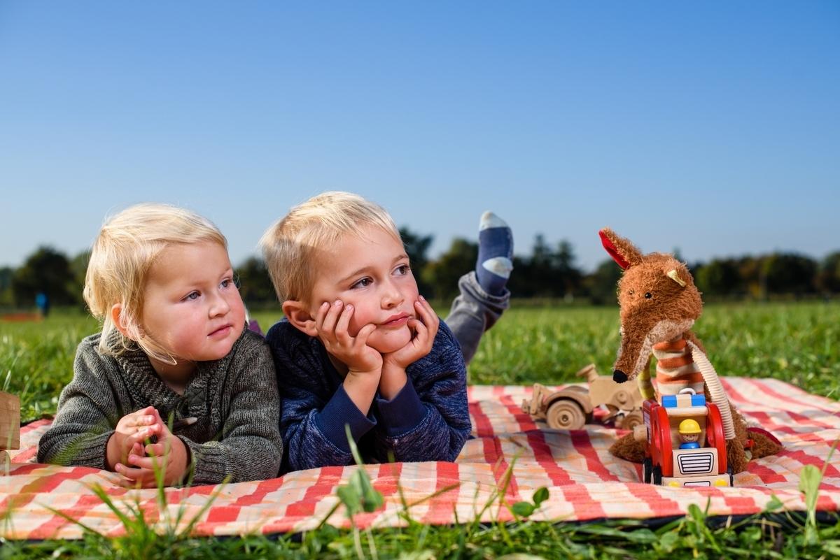 外国人、子供、悩む、ピクニック
