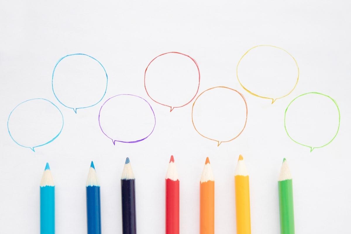 色鉛筆、吹き出し、枠組み、カラフル、カラー