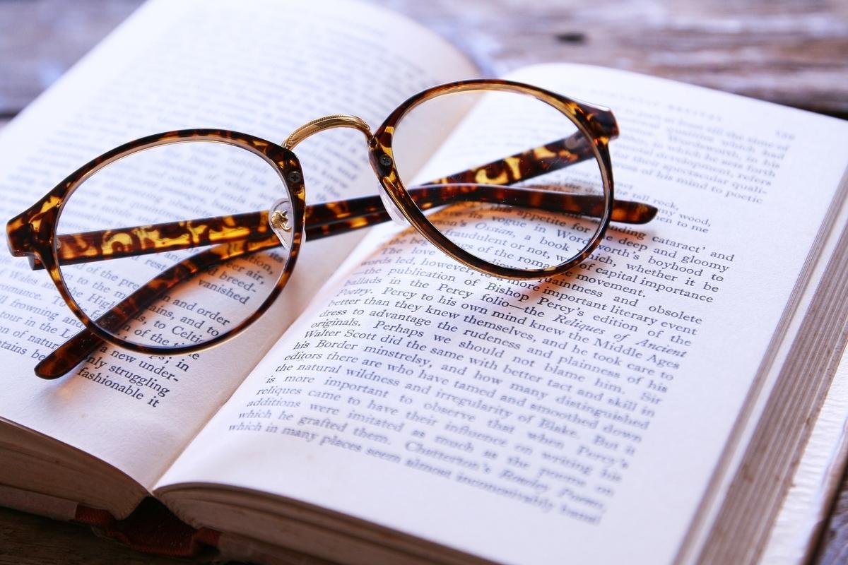 メガネ、本、英文、洋書
