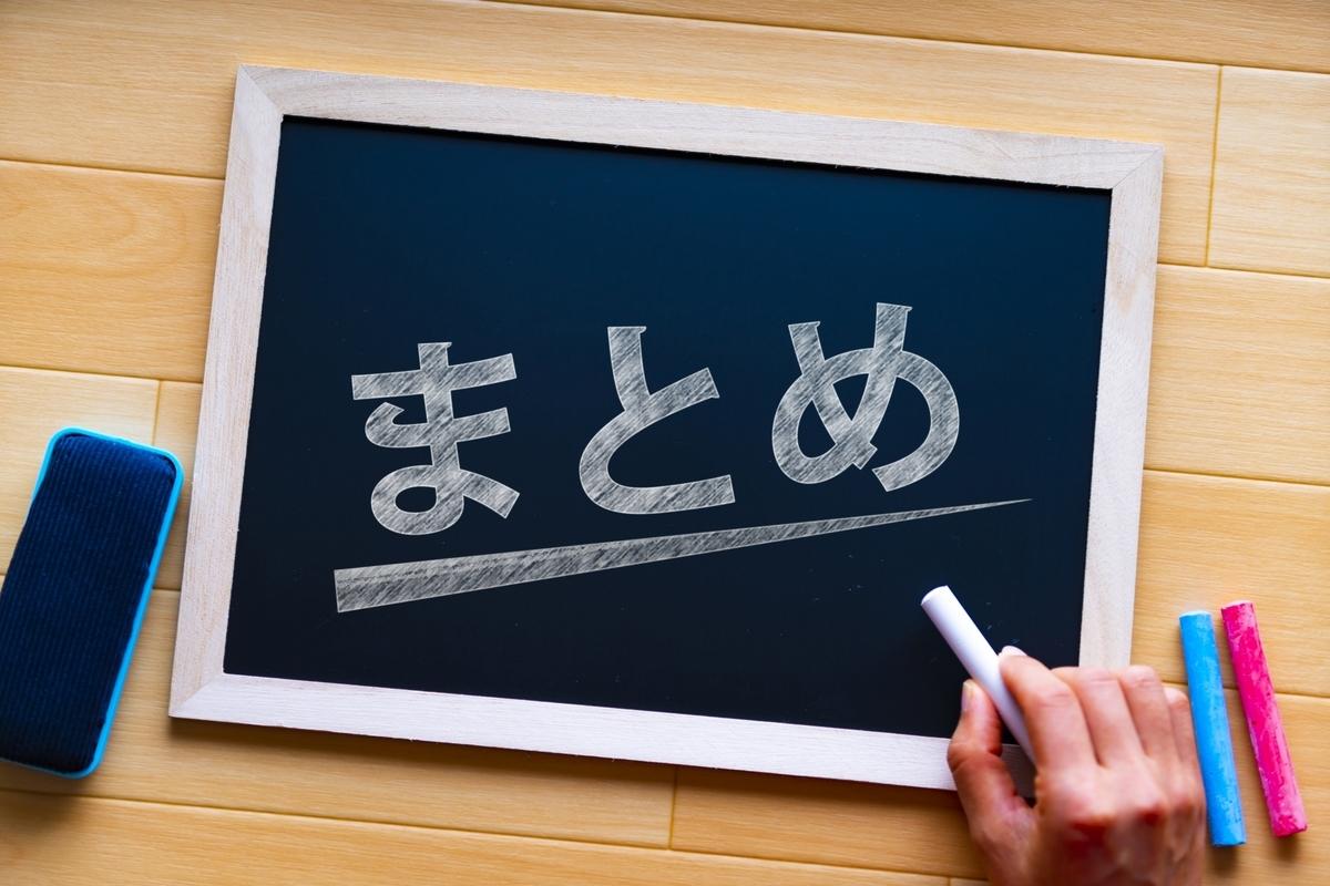 まとめ、黒板、チョーク、文字、イラスト