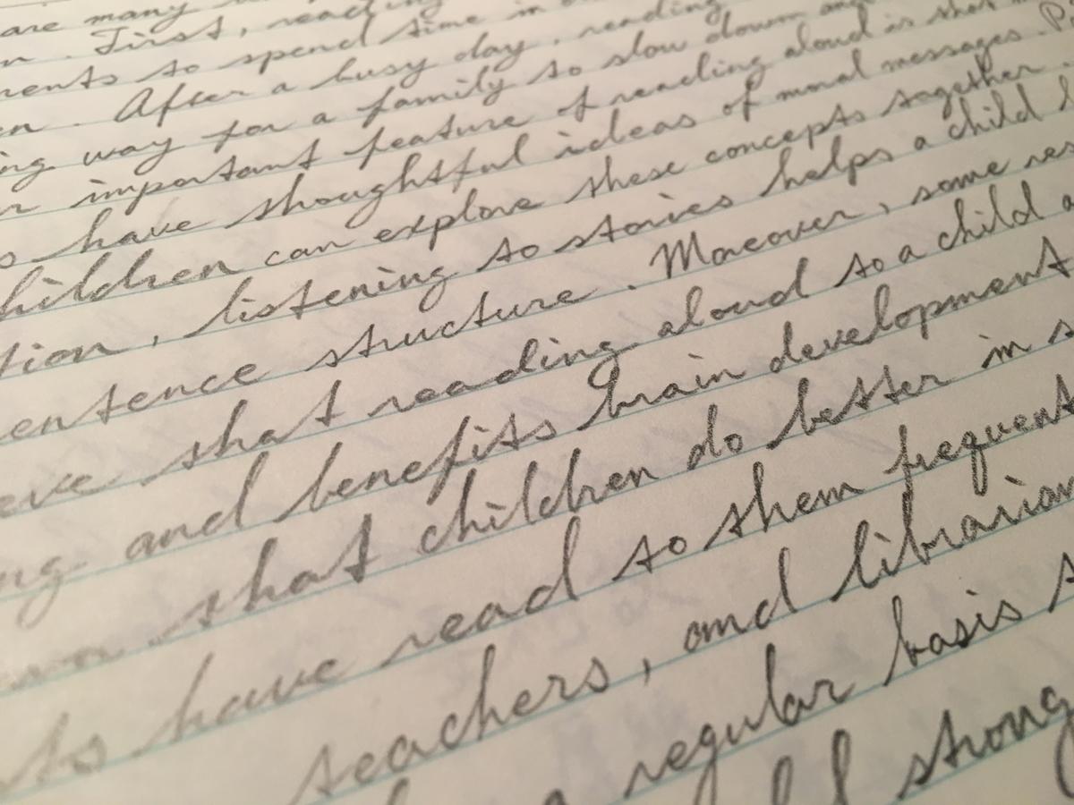 筆記体、英語、文章、横文字